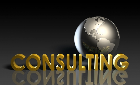 expertise concept: Consulting Services on a Global Scale in 3d