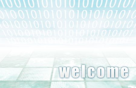 convention: Welcome on a Clear Blue Tech Background
