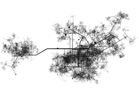 city view: Transport System Map Blueprint of a City Stock Photo