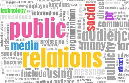relations publiques: Relations publiques PR concept comme un r�sum�.