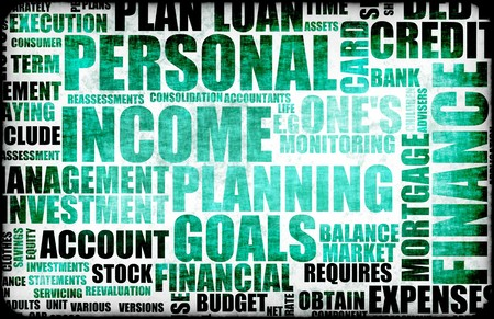 Blue Personal Income Spending Tax List Abstract photo