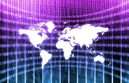Worldwide Network Media in a Purple Abstract