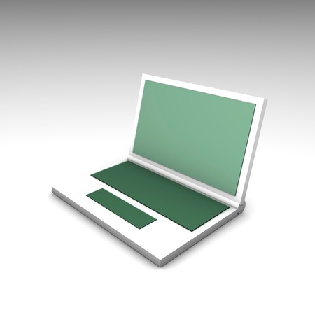 Green White Computer Notebook in 3d Art photo