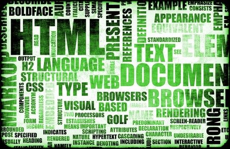 html: Green HTML Script Code as a Background