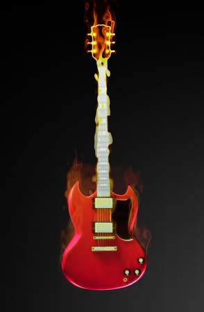 Flaming Guitar with a Supernatural Burning Fire Stock Photo - 6856715