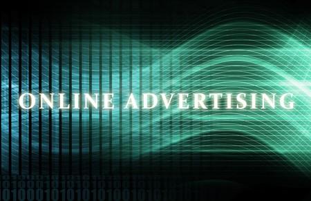 Online reclame als een concept achtergrond kunst  Stockfoto