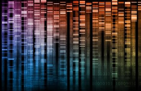 genetica: Ricerca del DNA della scienza sfondo dati genetici