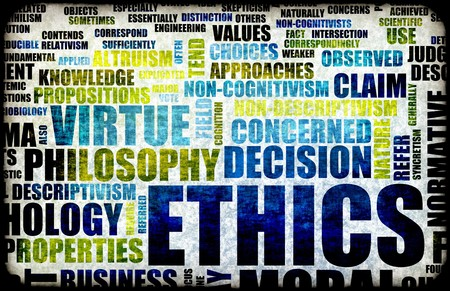 ethic: Idea di concetto di etica come una figura di sfondo Archivio Fotografico