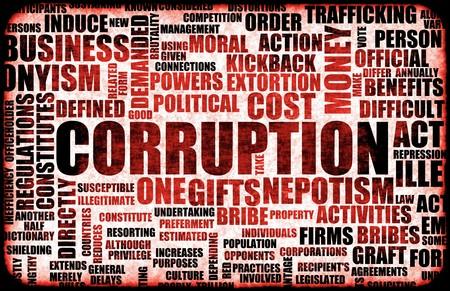 Corrupción en el Gobierno en un sistema corrupto Foto de archivo