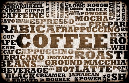 Koffie menu keuzes als een creatieve achtergrond