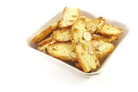 Biscotti Biscuits Laid Out On a White Background