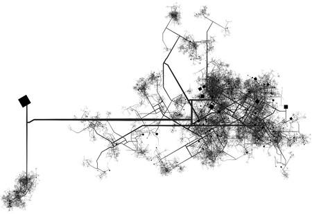 sprawl: Transport System Map Blueprint of a City Stock Photo