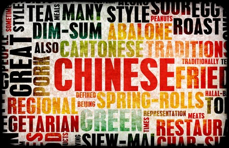 Chinese Food Menu Art Background in Grunge Banque d'images
