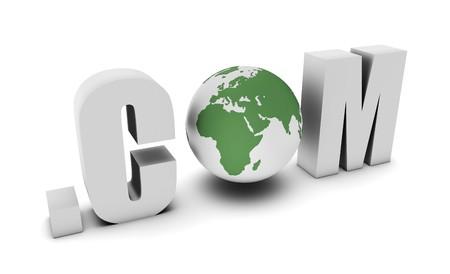 online internet presence: Dot Com of a Global Website on the Internet Stock Photo