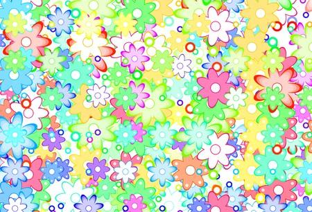 Cute Cartoon Art Flowers Simple Color Background Stock Photo - 6940708