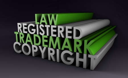 Registered and Copyright Trademark Law in 3d Stock Photo