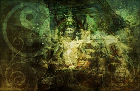 China Abstract Art Buddha as a Background photo