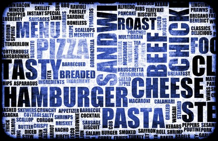 Blue Food Menu Background as Grunge Template Mat Stock Photo - 6955746