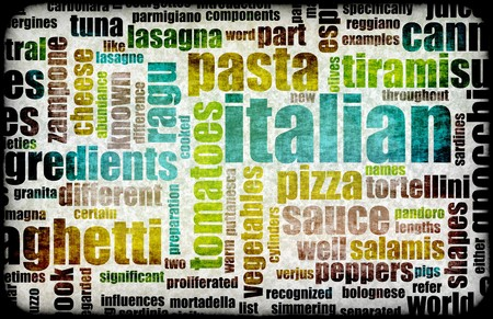 Italian Cuisine Food Menu in a Restaurant