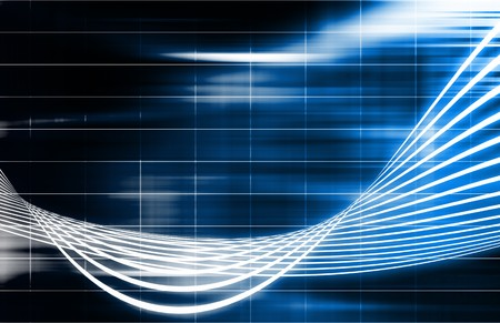 perspective grid: Blue Futuristic Technology Background with Wild Lines Stock Photo