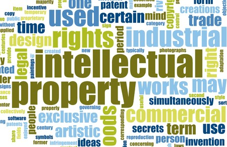 word: Intellectual Property Concept Word Cloud as Art Stock Photo