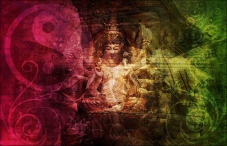 yin yang: Chino de Buda abstracto de fondo como un papel tapiz