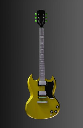 Guitar Illustration in 3d for Rock and Roll illustration