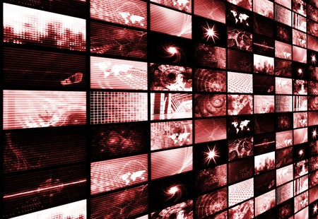 Red Futuristic Digital Age and Channels Background photo