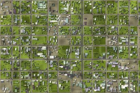 Luchtfoto van een stadswijk als art Stockfoto