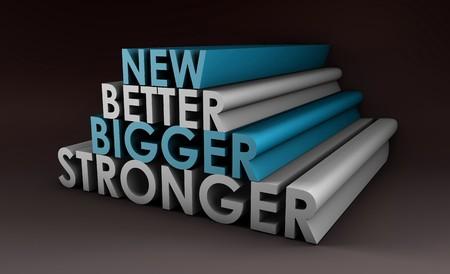 Größere bessere und schnellere Produkt als ein Konzept  Standard-Bild