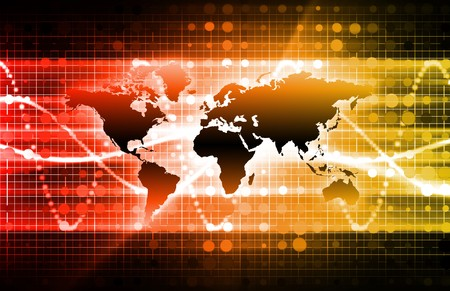 it technology: Orange Information Technology with a Planet Map Stock Photo
