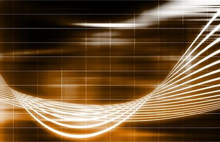Orange Energy Spectrum With Data Grid Lines Stock Photo - 7098209