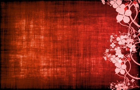 Red Grunge Floral Decor Old Texture Background