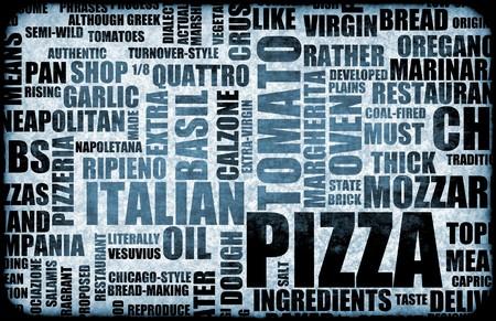 토핑과 컨셉 배경으로 피자 메뉴