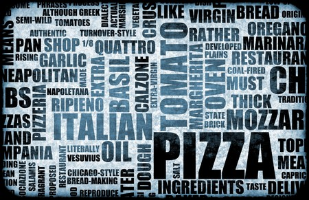 Pizza Menu as Concept Background with Toppings Archivio Fotografico