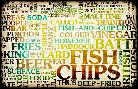 fish and chips: Peces y chips brit�nico men� de cocina como arte