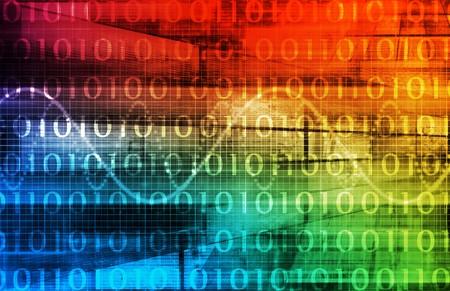 Futuristische technologie gegevensstroom als kunst achtergrond Stockfoto