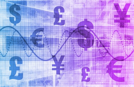 currency symbols: Global Currencies as a Financial Art Background Stock Photo
