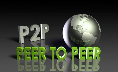 peer to peer: P2P Peer to peer tecnolog�a en 3d  Foto de archivo