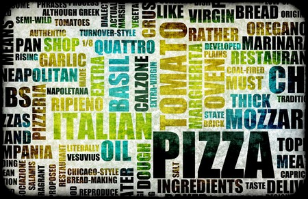 pepperoni: Pizza Menu as Concept Background with Toppings Stock Photo