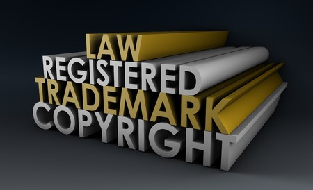 trademark: Registered and Copyright Trademark Law in 3d Stock Photo