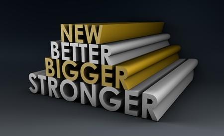 Größere bessere und schnellere Produkt als ein Konzept