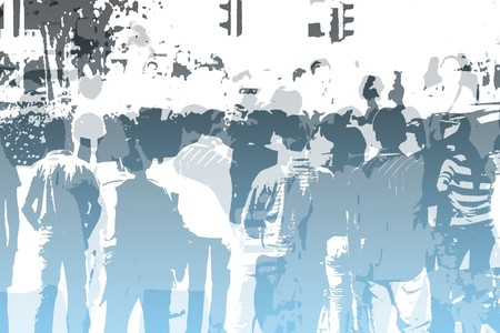 grote groep mensen: Menigte abstract achtergrond kleuren en White