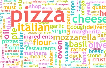 toppings: Pizza Menu as Concept Background with Toppings Stock Photo