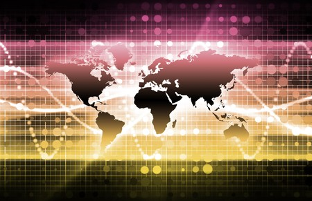 digital world: Abstract Technology Background With a Glowing Map Stock Photo