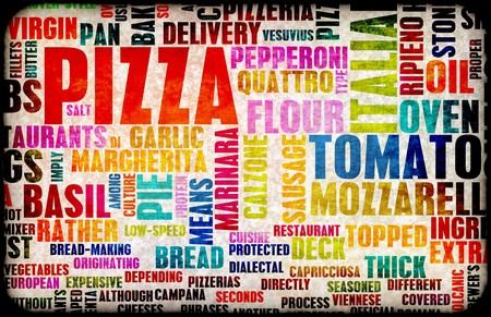 pizza delivery: Pizza Menu as Concept Background with Toppings Stock Photo