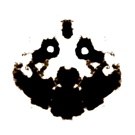 observations: Rorschach Test of an Ink Blot Card Stock Photo