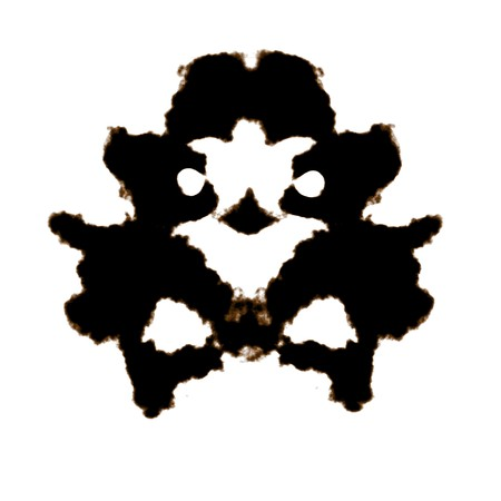 inkblot: Rorschach Test of an Ink Blot Card Stock Photo