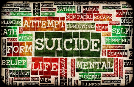 coping: Suicide Concept as a Grunge Depression Background Stock Photo