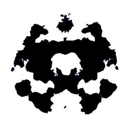 ink stain: Rorschach Test of an Ink Blot Card Stock Photo